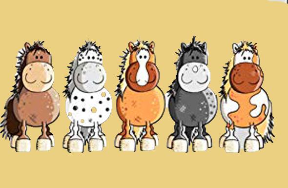 5 Cartoon Pferde